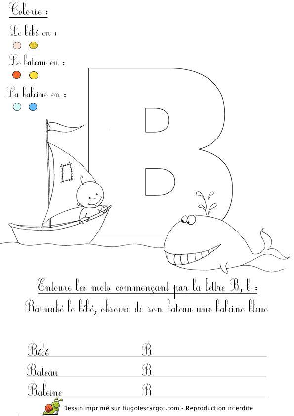 Lettre B alphabet / abécédaire pédagogique (dessins