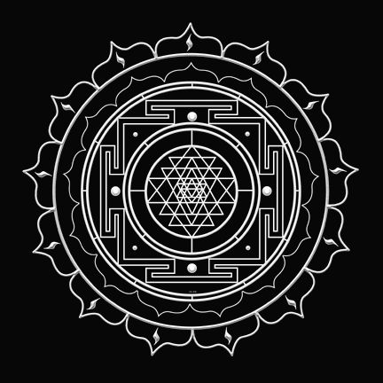 """Sri Yantra is the sound vibration of the cosmic Om seen as a visual diagram. It is said that when monks have chanted aum (or om) this pattern manifests, astrally and on the physical plane.   Sri Yantras are made of 9 interlacing triangles - 4 upward representing the male principle and 5 downward representing the female principle. Together, they represent the non-static, vibrating, creative force of the universe. The point in the center or Bindu, represents the point of creative…"