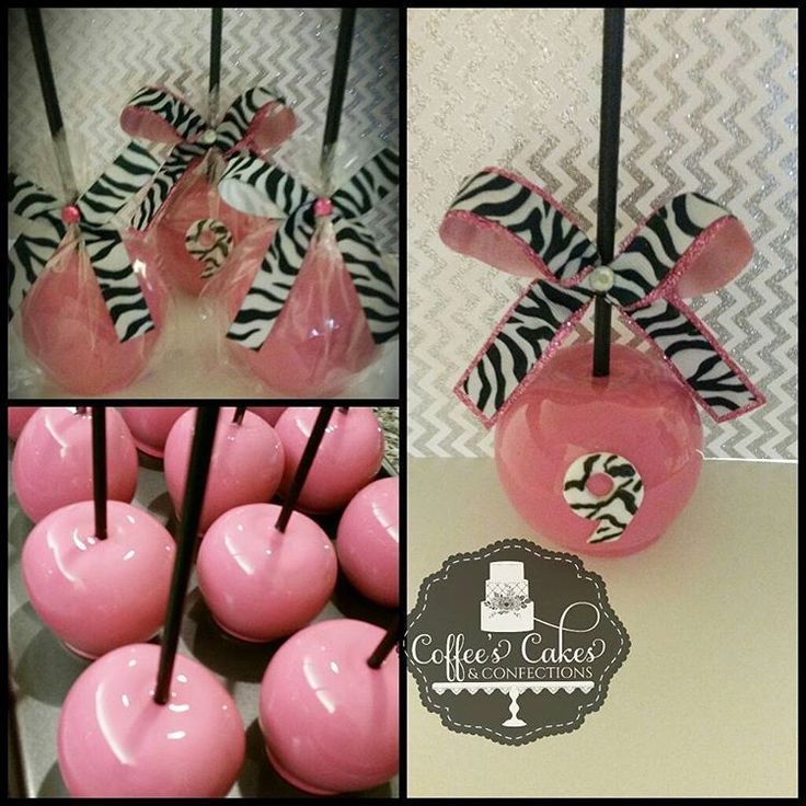 """For a """"girly girl"""" with a little sass! #CandyApples #Pink #ZebraPrint #kidsbirthdays  #candiedapples"""