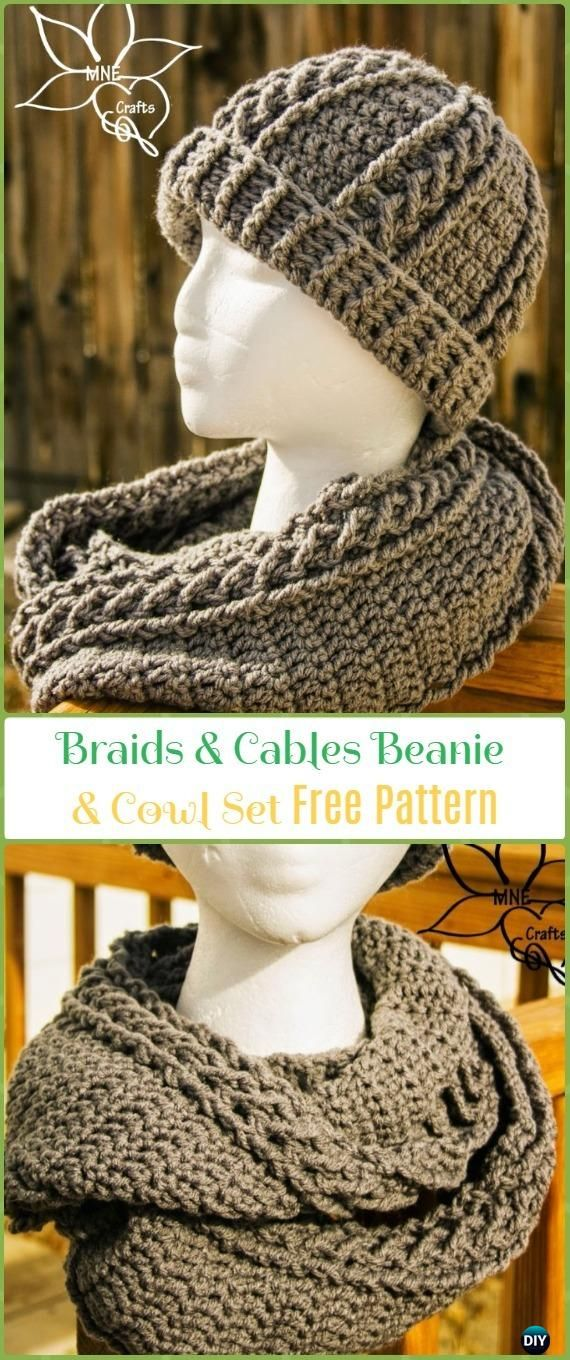 Crochet Braids & Cables Beanie & Cowl Set Free Pattern - Crochet Cable Hat Free Patterns