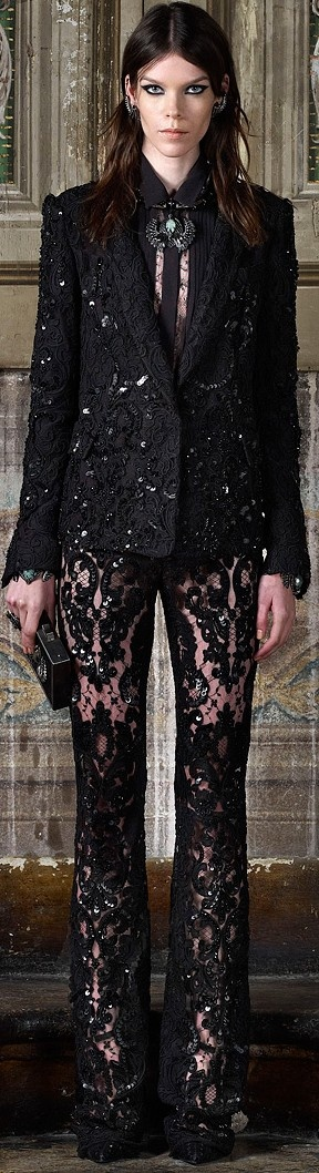 Roberto Cavalli Pre-Fall 2013. I don't care for the blazer or the shirt. But those lace pants?