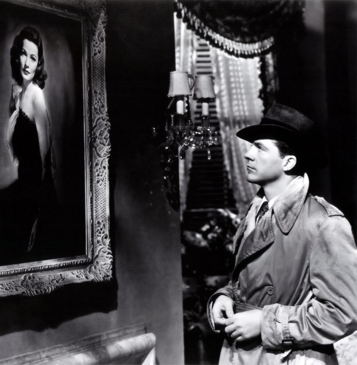 """Dana Andrews and Gene Tierney in  """"Laura"""" (1944; directed by Otto Preminger). A fascinating romantic mystery. I think it is superior to """"Rebecca"""", even with the drop off from Hitchcock to Preminger."""