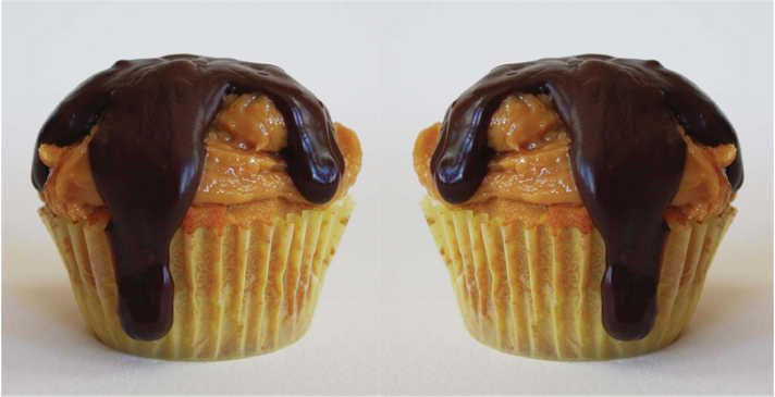 Peanut Butter Cupcakes with Peanut Butter Frosting and Chocolate Ganache