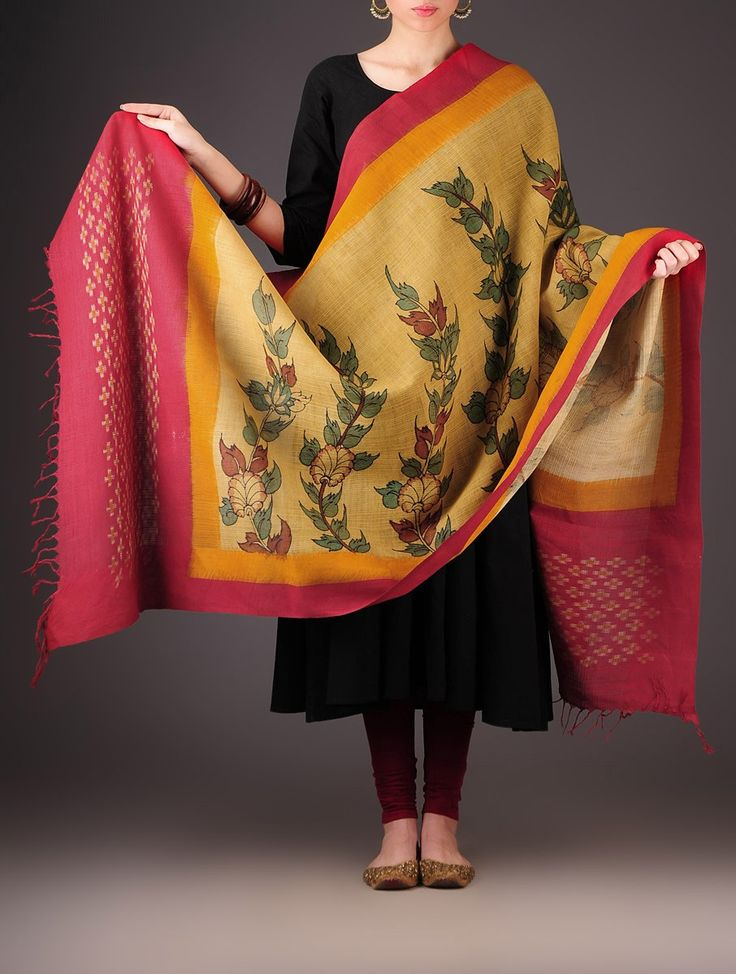 Buy Beige Orange Red Cotton Kalamkari Ikat Printed Dupatta Accessories Dupattas Painted Verse Pochampally Handloom in Craft Online at Jaypore.com