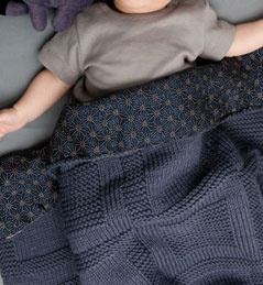 fabric backed knit blanket.
