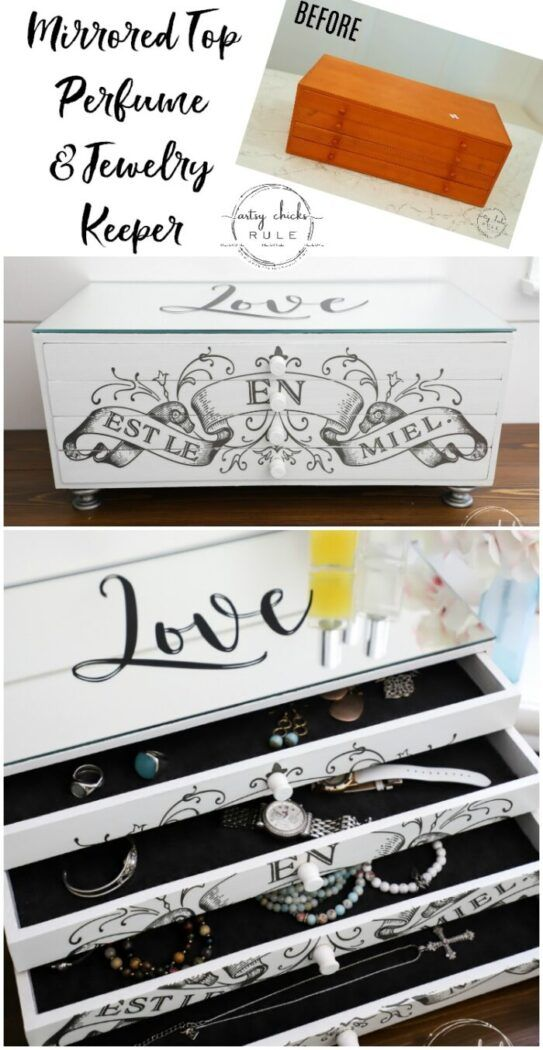 This old, orange box got a brand new look…and use! A little paint, mirror, fab…  – Artsy Chicks Rule Blog