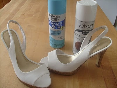 Spray paint heels! Now I can have the perfect color heels just in time for the wedding! @Joelle A. :)