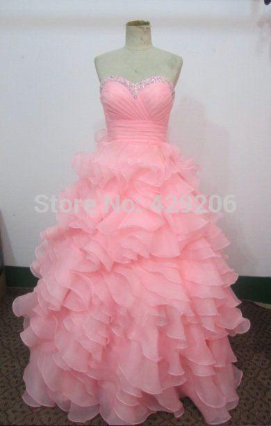 2014 розовой бисера рюшами платья выпускного вечера 2014 реальная картина бал выросло свадебные платья 15 на заказ ( D99 )