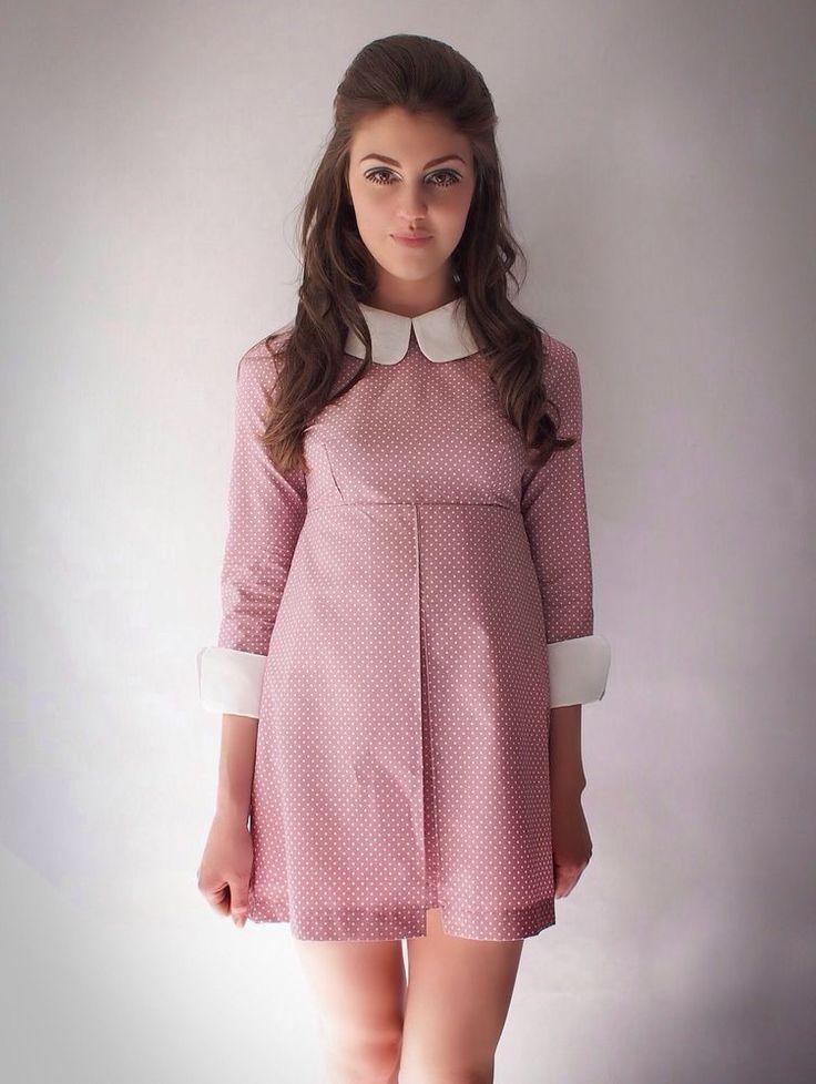 Vtg 1960's Repro Pink polkadot dress, collar, mod, scooter, 6,8,10,12,14,16