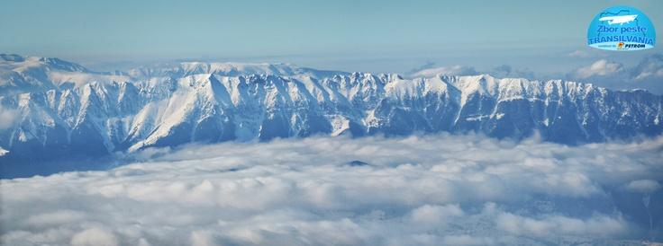 "Piatra-Craiului Mountains ""floating"" over Translyvania County. www.zborpestetransilvania.ro"