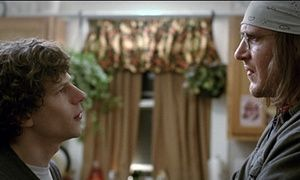 """Jesse Eisenberg, left, as David Lipsky, and Jason Segel, as David Foster Wallace, in a scene from the film, """"The End of the Tour."""" (A24 via AP)"""