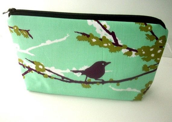 Sparrows on Aqua Large Cosmetic Bag Flat bottom Zipper Pouch Padded ECO Friendly by JPATPURSES, $18.00