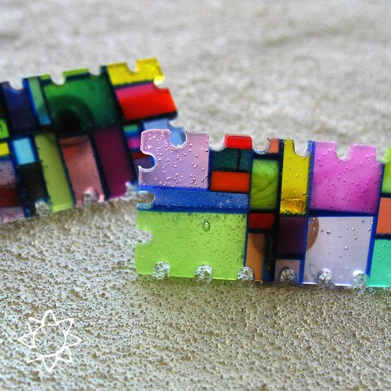 Multicolor Puzzle Brooch Recycled Plastic Neon Mosaic by ecomosaic, $39.00