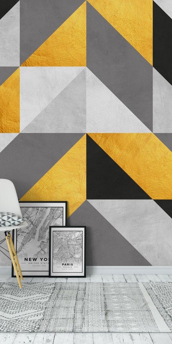 Gold And Gray Composition V Wall Mural From Happywall Mural Concrete Pattern Padroes De Pintura De Parede Arte De Parede Geometrica Moveis E Decoracao Sala