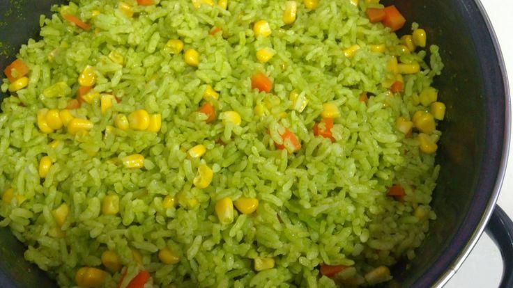ARROZ VERDE, Receta # 109, como hacer arroz verde - YouTube