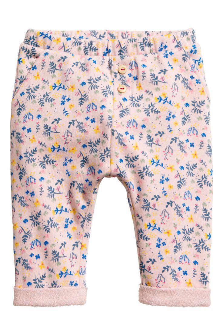Wzorzyste spodnie - Pudroworóżowy/Wzór - Dziecko   H&M PL 1