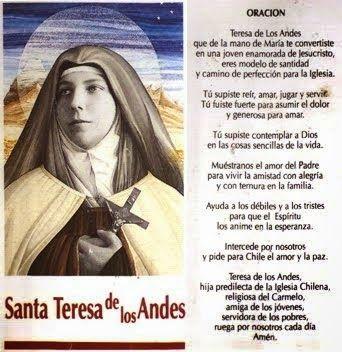 ORACIONES Y DEVOCIONALES CATOLICAS : Oración a Santa Teresa de los Andes para atraer ...