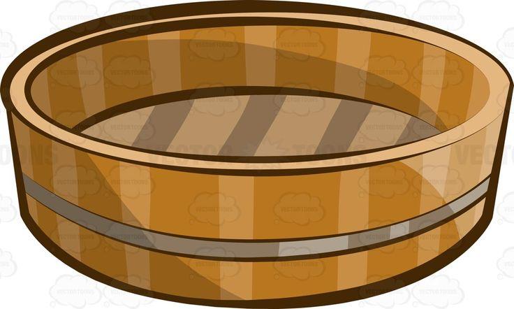 A wooden bowl called hangiri #cartoon #clipart #vector #vectortoons #stockimage #stockart #art
