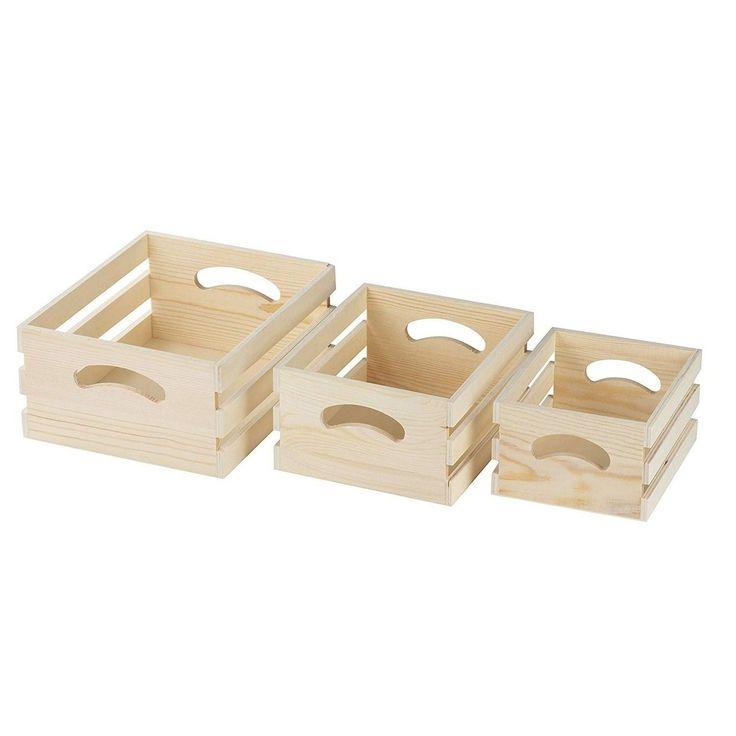 zierliche Holzkiste, 3-Count Small Decorate Storage Caddy, unvollendete Holzhandwerk …  – Products