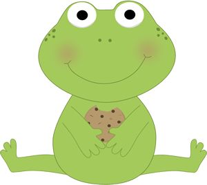 Frog Eating a Cookie Clip Art