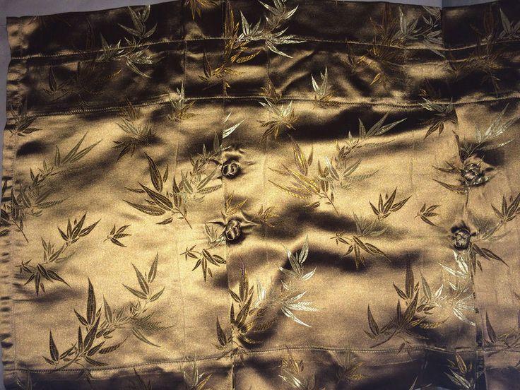 SUITE 109 BAMBOO VALANCES BROCADE GOLD BRONZE ASIAN SATIN ORIENTAL SET OF 2 #Suite109