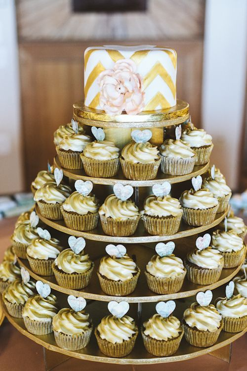 Incredible gold wedding cupcakes! Photo by Ulmer Studios | junebugweddings.com