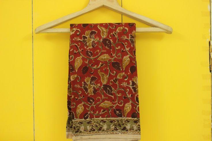 Kalamkari Saree - Red (Third Variant) from Lal10.com