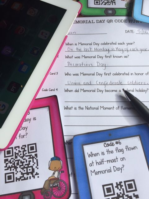 When did Memorial Day become a federal holiday? What is often played at ceremonies on Memorial Day? What is the National Moment of Remembrance? Your students will enjoy knowing the answers to these and many more interesting questions with this 20 QR Code Hunt on Memorial Day. https://www.teacherspayteachers.com/Product/MEMORIAL-DAY-QR-CODE-HUNT-2553407