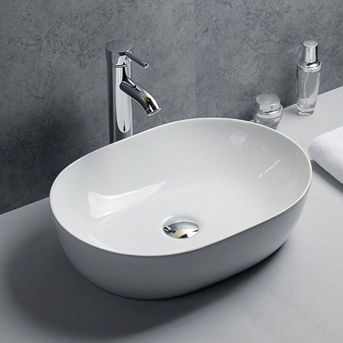 Basong Above Counter Bathroom Sink Oval Porcelain Ceramic Vessel Vanity Sink Art Basin Porcelain Bathroom Sink Above Counter Bathroom Sink Basin Sink Bathroom