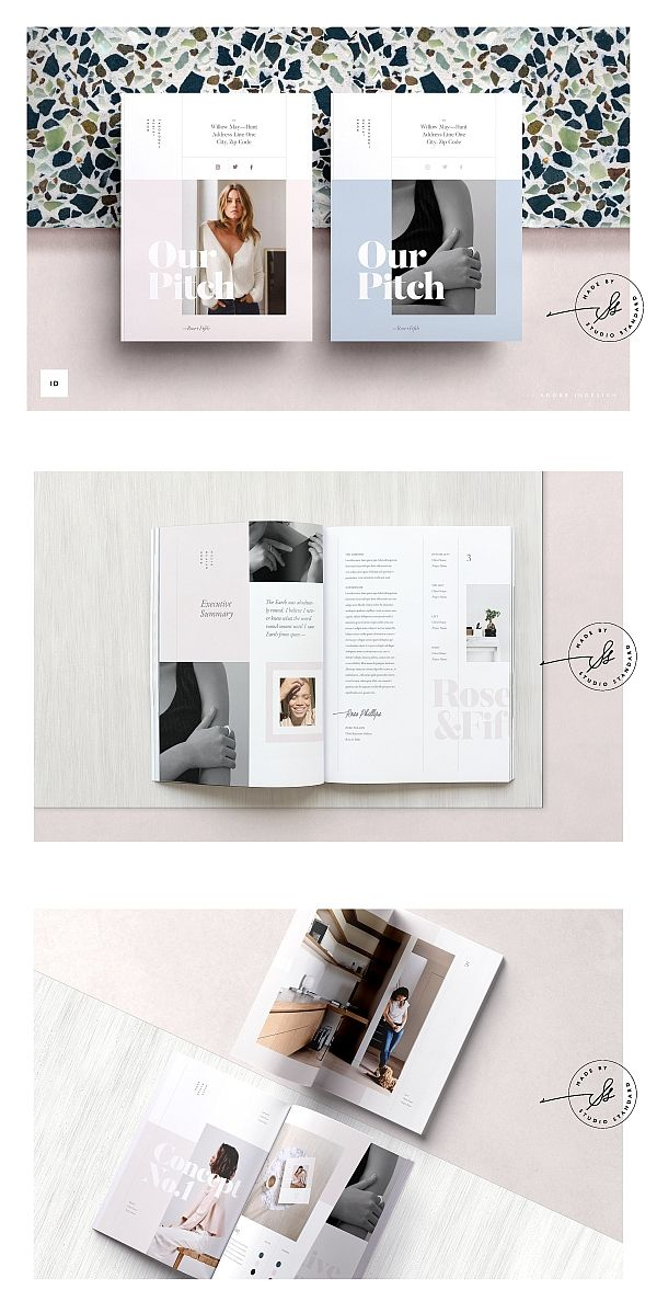 Rose Creative Pitch Magazine Layout Design Lookbook