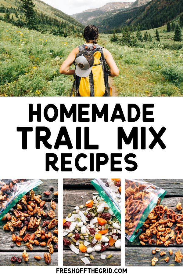 3 Homemade Healthy Trail Mix Recipes!  Whether you like spicy trail mix, something sweet, or need modifications like gluten free or a nut free trail mix, these recipes will give you ideas on how to make your own unique hiking snacks! #trailmix #healthy #hiking #snacks #glutenfree #camping #snack #recipe #outdoors