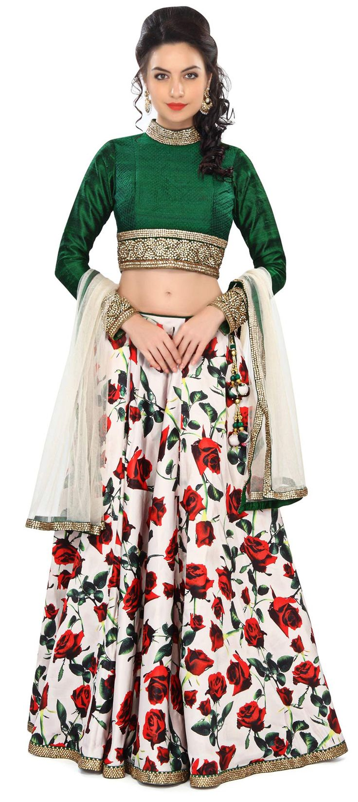 Buy Online from the link below. We ship worldwide (Free Shipping over US$100) Price - $539.00 Click Anywhere to Tag http://www.kalkifashion.com/cream-printed-lehenga-embellished-in-kundan-embroidery-only-on-kalki.html