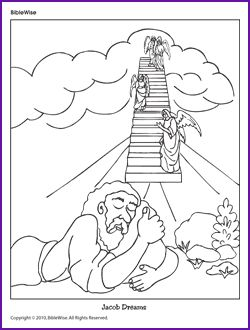 two coloring pages jacob and the angels