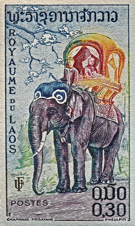 1958 Laos Elephant Stamp Photograph  - 1958 Laos Elephant Stamp Fine Art Print ~ #Laos #art #photography #macro @wfowen :)