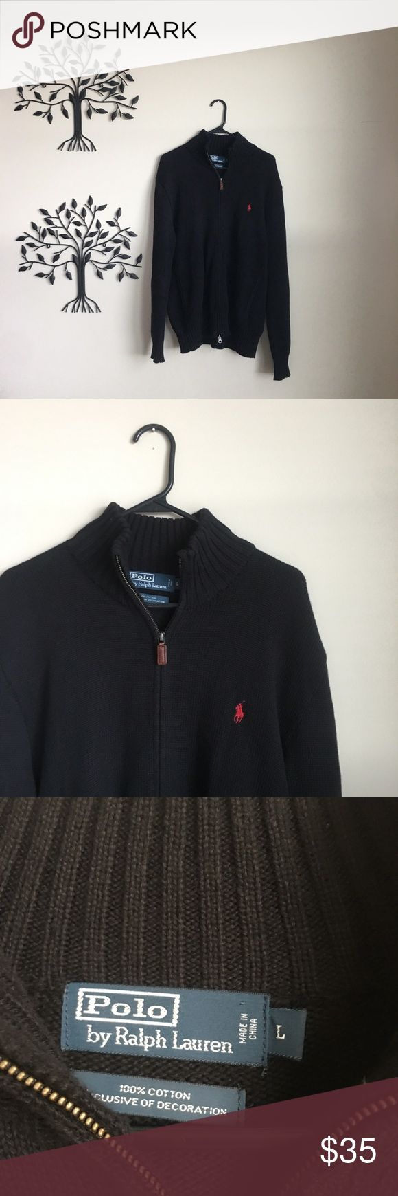 Ralph Lauren Premium Full Zip Sweater Extremely High Quality Exclusive Of Decoration Design Polo By Ralph Lauren Full Zip Sweater  Has two pull tab zippers it is a full Zip Up   Color is Black With Red Horse Logo   Size is Men's Large Polo by Ralph Lauren Sweaters Zip Up