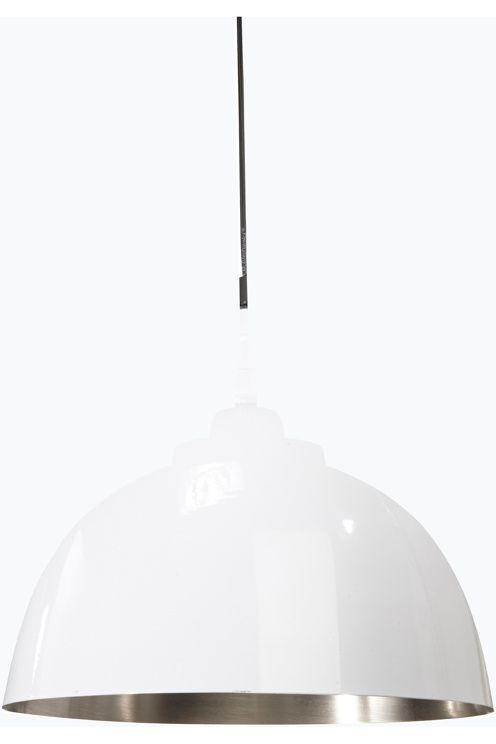 Taklampe i metall, komplett med kronkontakt. Takkopp i samme farge som lampen. 30 cm i diameter, høyde 26 cm. Ledningslengde 120 cm. E27 maks 40w.