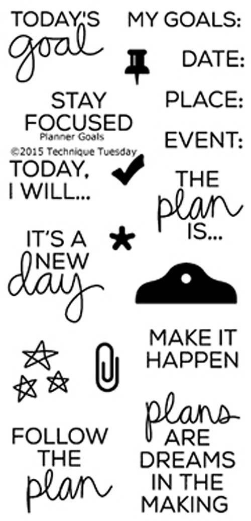 """TECHNIQUE TUESDAY: Planner Goals (2"""" x 4"""" Clear Photopolymer Stamp Set) This clear photopolymer stamp set is great for your planners, calendars and pocket scrapbooks. Set measures approximately 2"""" x 4"""