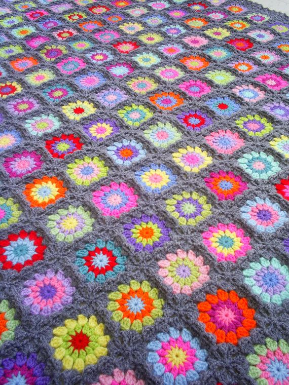 colorful crochet granny square blanket van handmadebyria op Etsy