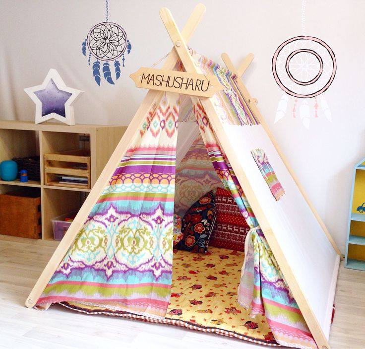"""Купить Палатка """"калейдоскоп"""" - Палатка, подушка, подушка декоративная, флажки, гирлянда, фонарики, вигвам"""