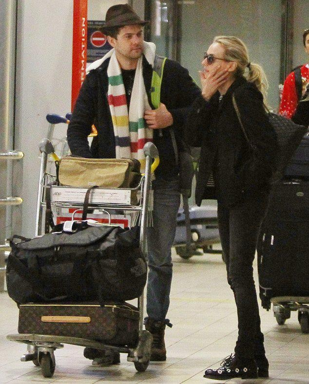 Joshua Jackson in his Hudson's Bay Company striped scarf with Diane Kruger