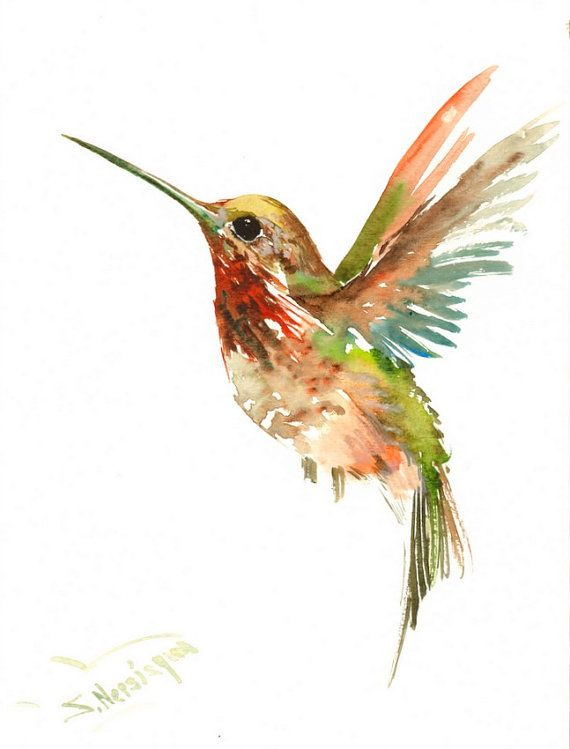 Flying Hummingbird original watercolor painting 12 X 9in