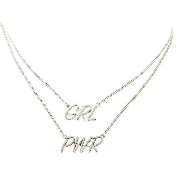 Charlotte Russe GRL PWR Pendant Necklaces - 2 Pack ($7) ❤ liked on Polyvore featuring jewelry, necklaces, chain jewelry, charlotte russe jewelry, lobster clasp necklace, silver jewelry and charlotte russe