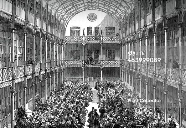Stock Photo-News Photo : the Royal Army Clothing Depot In 1859 the depôt was opened,The main building was a glass-roofed central hall of three storeys & galleries It had light, air, and warmth, in contrast to the wretched conditions of the home-worker. In all 1027 women & 200 men worked there-the entire sewing-machine population in London who had to be strong and healthy between 17&35.After examination by a doctor, Matron examined their morals.Stock Photo-News Photo :