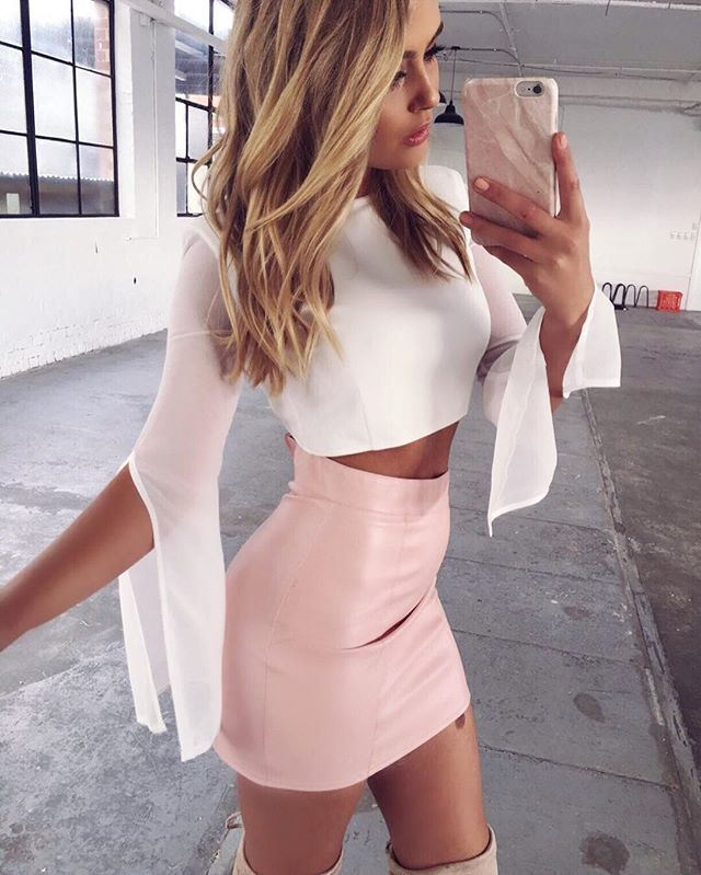 On Fridays we wear PINK - super cute outfits have just landed online & instore at our Eastland store location in Melbourne.  The Mackenzie Top $59.95 + Dion PU Skirt $59.95 shop link in bio.