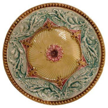 Check out this item at One Kings Lane! French Majolica Plate w/ Bead Boarder