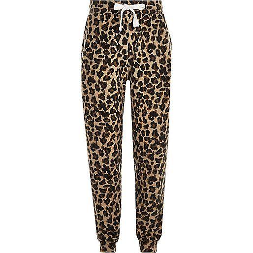 Bruine joggingbroek met luipaardprint voor meisjes - broeken - sale - meisjes