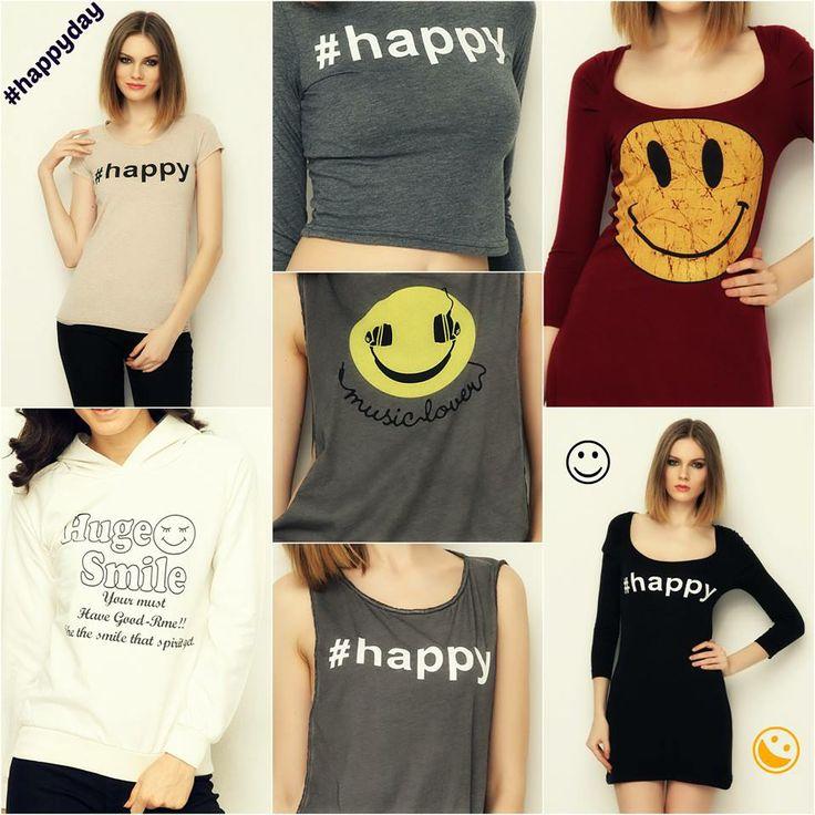 Bugün mutluluğu stiline yansıtmak isteyenlere duyurulur! Dünya Mutluluk Günü'ne özel #happy temalı t-shirt ve sweatshirtler bugün T-Shirt & Sweatshirt Industry'de! #happyday #20march #BetterWorld #smile #fun #markafoni #worldhappinessday