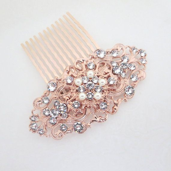 Rose Gold Hair Comb Rose Gold Headpiece Bridal Hair Comb