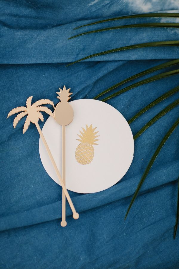 Pineapple + palm tree cocktail accessories: http://www.stylemepretty.com/living/2016/03/17/the-one-party-detail-we-cant-stop-talking-about/ | Photography: Shane and Lauren - http://shaneandlauren.com/