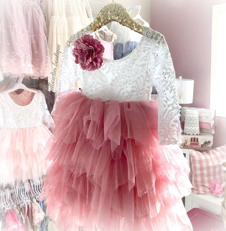 Kryssi Kouture Veronica Soft White Eyelash Long Sleeve Lace with a Dusty Pink Long Tutu Skirt - Princess Dress